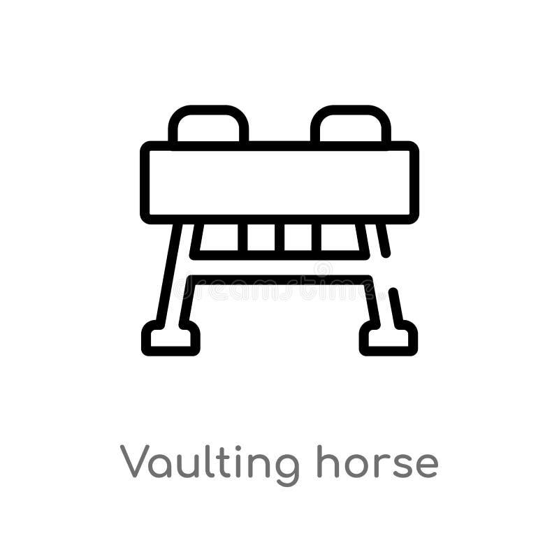 значок вектора лошади плана вольтижируя изолированная черная простая линия иллюстрация элемента от концепции оборудования спортза бесплатная иллюстрация