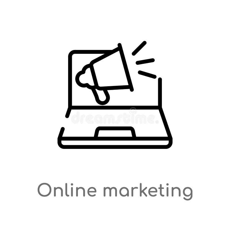 значок вектора маркетинга плана онлайн изолированная черная простая линия иллюстрация элемента от выходя на рынок концепции edita иллюстрация штока