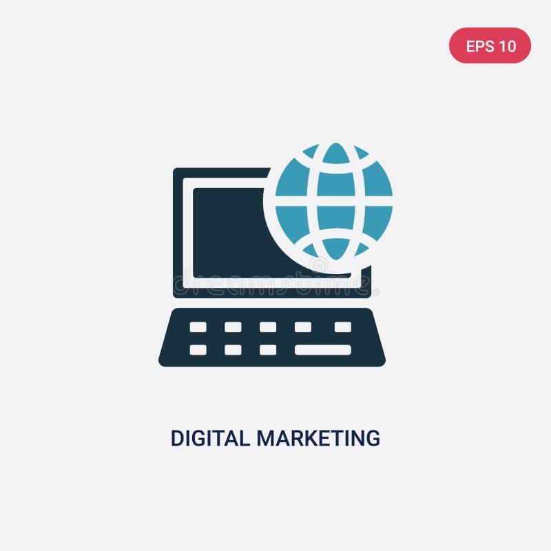 Значок вектора маркетинга 2 цветов цифровой от социальных средств массовой информации выходя концепцию вышед на рынок на рынок из иллюстрация штока