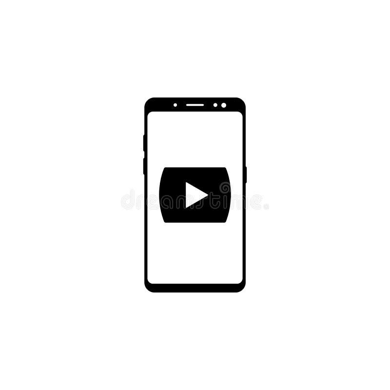 значок вектора медиа-проигрывателя смартфона для вебсайтов и мобильного minimalistic плоского дизайна иллюстрация штока