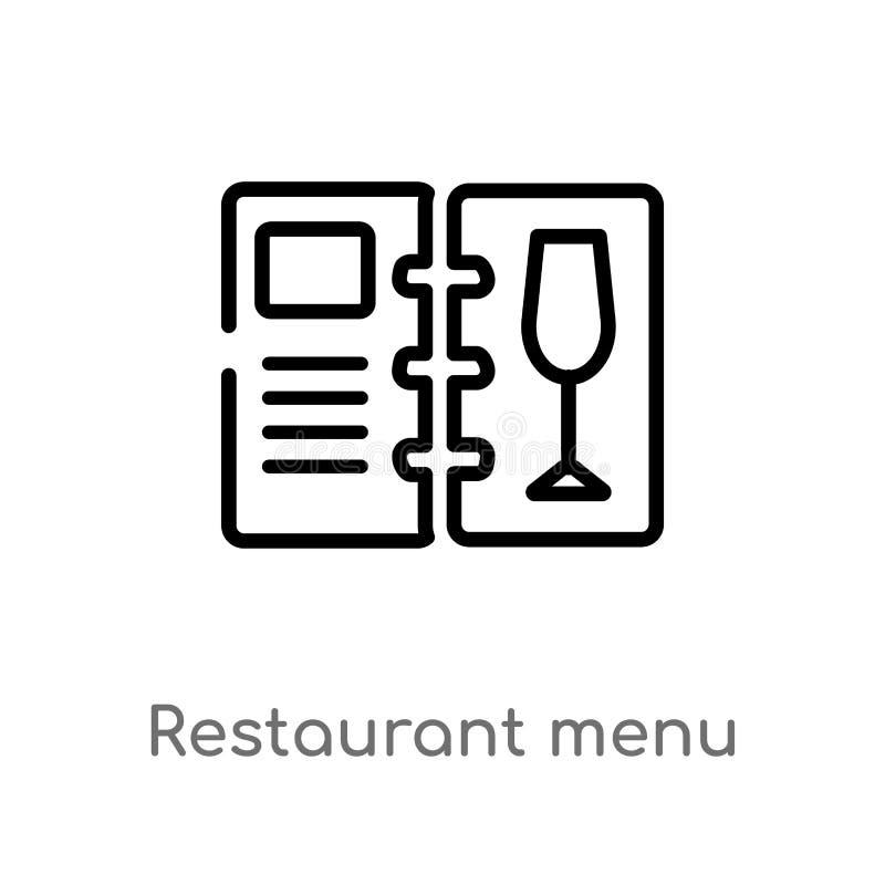 значок вектора меню ресторана плана изолированная черная простая линия иллюстрация элемента от концепции еды editable ход вектора иллюстрация вектора