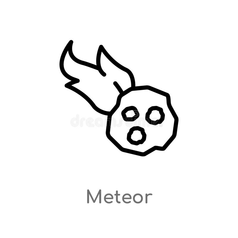 значок вектора метеора плана изолированная черная простая линия иллюстрация элемента от концепции каменного века editable метеор  иллюстрация вектора