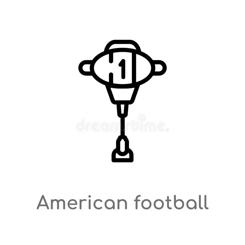 значок вектора метки американского футбола плана изолированная черная простая линия иллюстрация элемента от концепции американско иллюстрация вектора