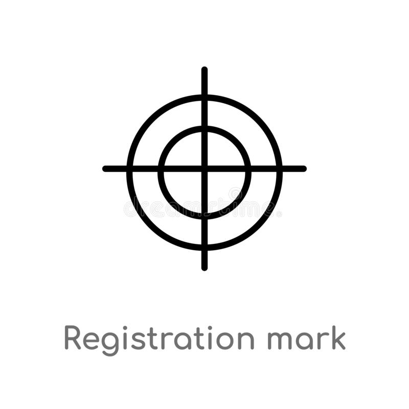значок вектора метки регистрации плана изолированная черная простая линия иллюстрация элемента от редактирует концепцию инструмен иллюстрация штока