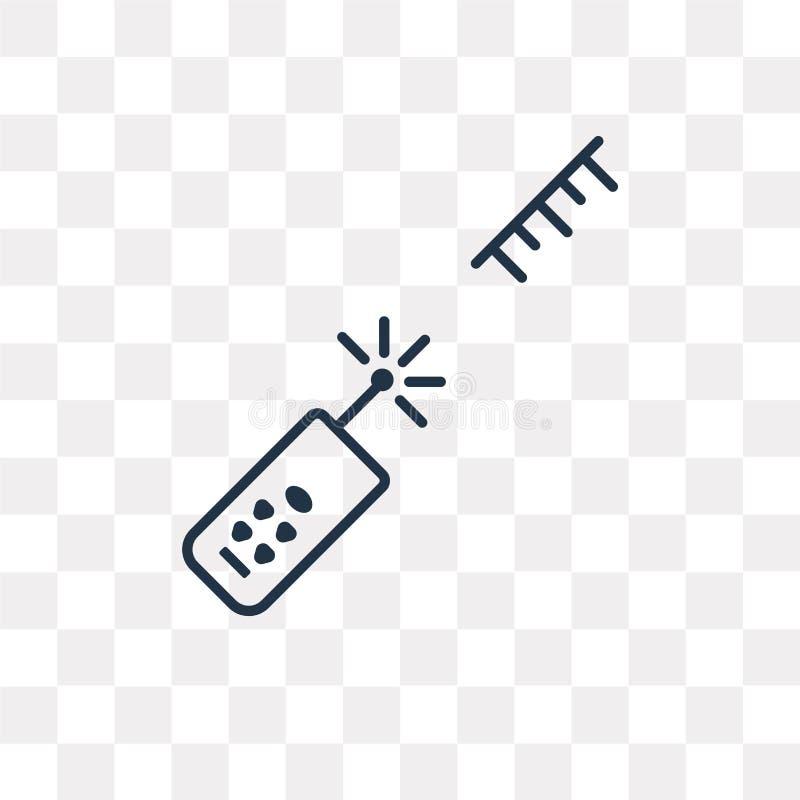 Значок вектора метра лазера изолированный на прозрачной предпосылке, линии иллюстрация штока