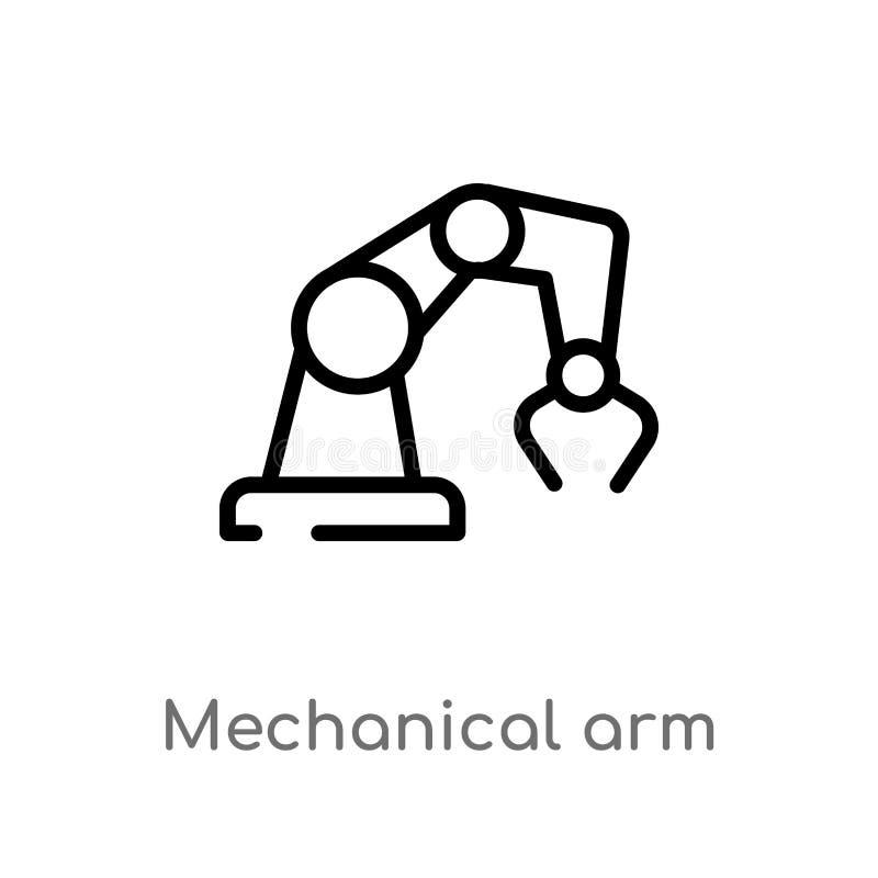 значок вектора механической руки плана изолированная черная простая линия иллюстрация элемента от концепции искусственного интелл иллюстрация штока