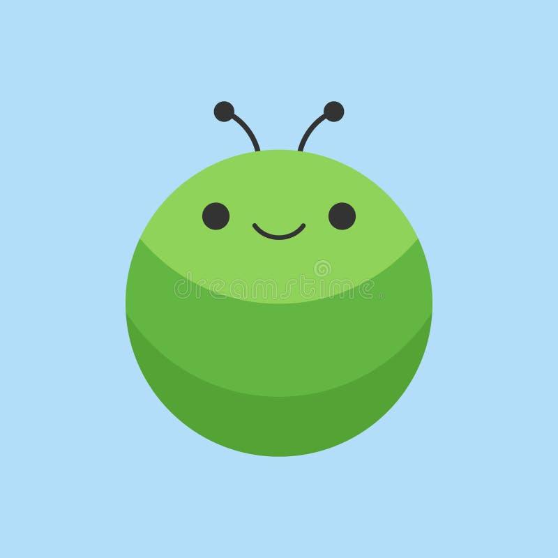 Значок вектора милой гусеницы круглый бесплатная иллюстрация
