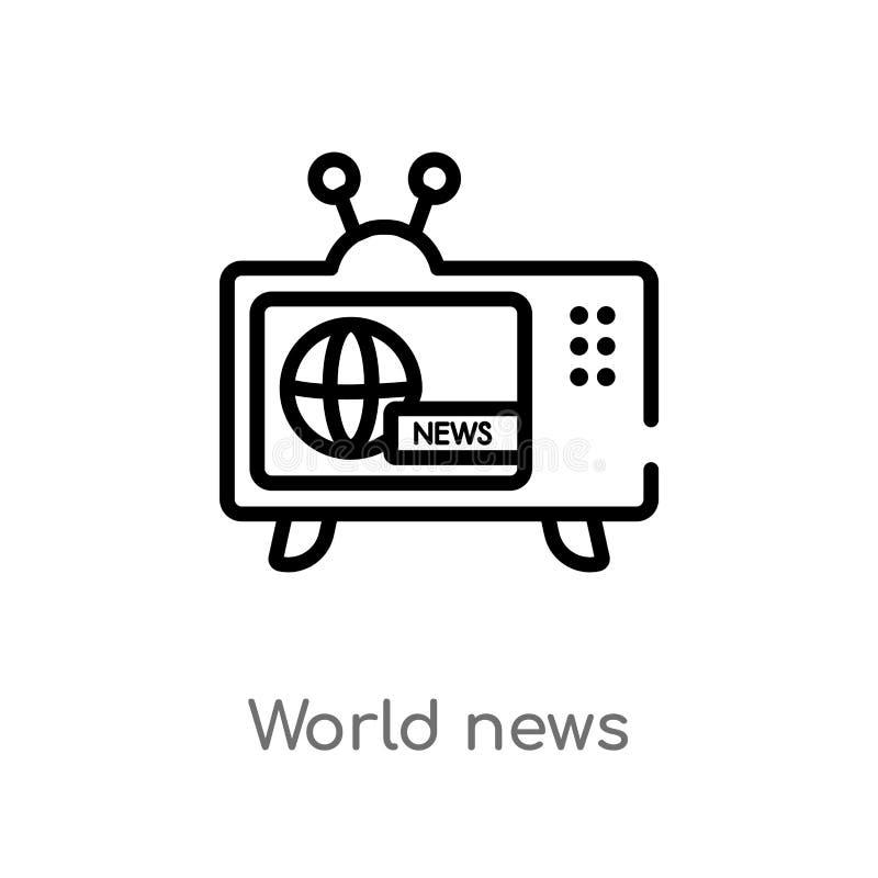 значок вектора мировых новостей плана изолированная черная простая линия иллюстрация элемента от концепции технологии Editable хо иллюстрация штока