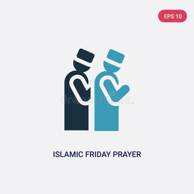 Значок вектора молитве пятницы 2 цветов исламский от концепции religion-2 изолированный голубой исламский символ знака вектора мо иллюстрация вектора