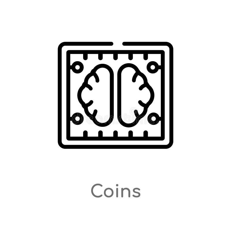 значок вектора монеток плана E r бесплатная иллюстрация