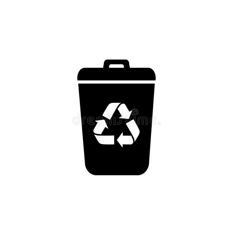 Значок вектора мусорного бака отброса Концепция Eco био, повторно используя Плоская иллюстрация дизайна изолированная на белой пр иллюстрация вектора