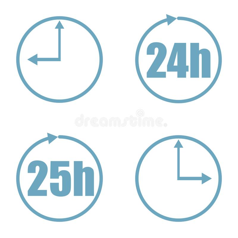 Значок вектора набора времени изолированный на белой предпосылке иллюстрация вектора