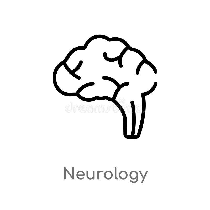 значок вектора неврологии плана изолированная черная простая линия иллюстрация элемента от здоровья и медицинской концепции Edita бесплатная иллюстрация