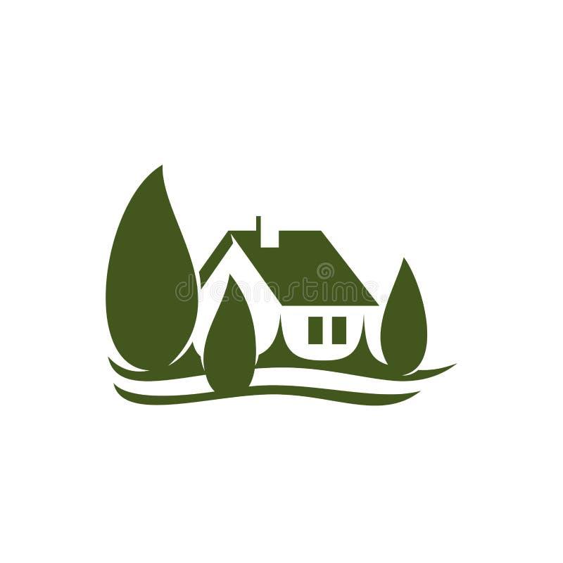 Значок вектора недвижимости зеленого цвета деревни дома Eco бесплатная иллюстрация