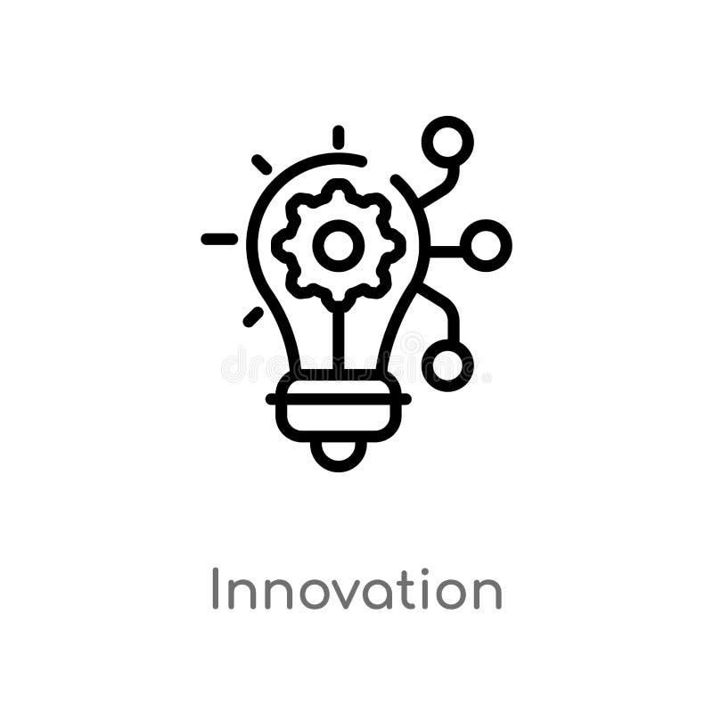 значок вектора нововведения плана изолированная черная простая линия иллюстрация элемента от выходя на рынок концепции Editable х стоковые фото