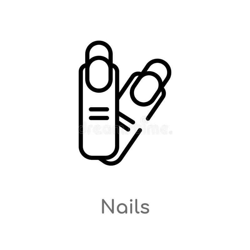 значок вектора ногтей плана изолированная черная простая линия иллюстрация элемента от концепции дела editable ногти хода вектора иллюстрация штока