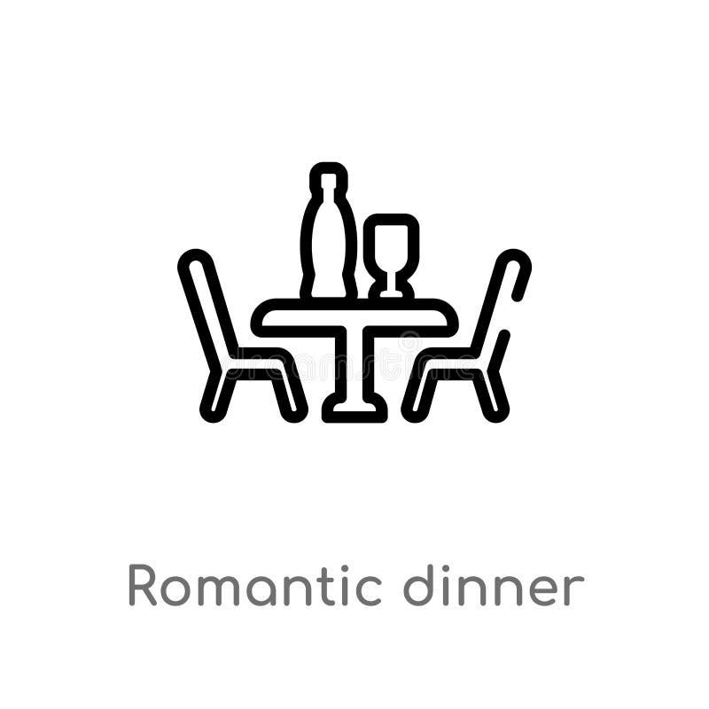 значок вектора обедающего плана романтичный изолированная черная простая линия иллюстрация элемента от концепции любов & свадьбы  бесплатная иллюстрация