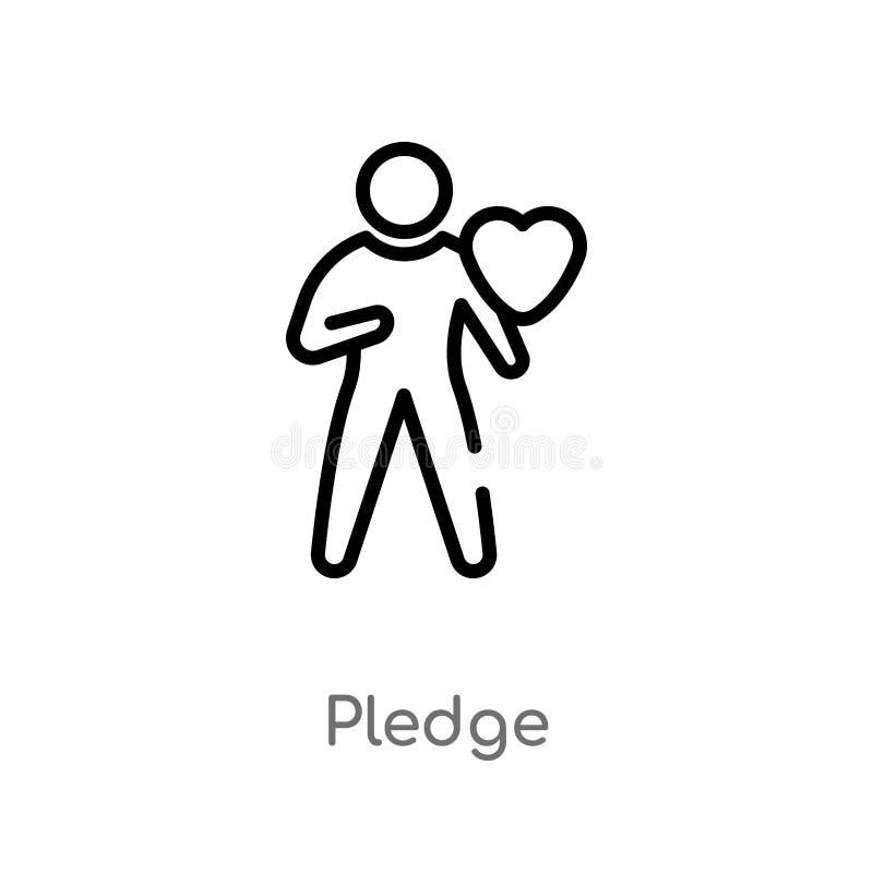 значок вектора обещания плана изолированная черная простая линия иллюстрация элемента от crowdfunding концепции Editable ход вект иллюстрация вектора