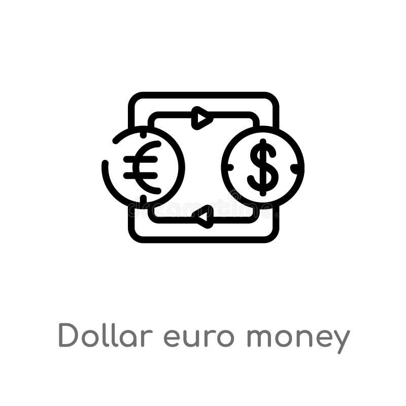 значок вектора обменом денег евро доллара плана изолированная черная простая линия иллюстрация элемента от концепции дела editabl иллюстрация штока