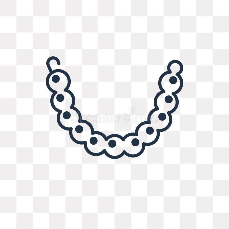 Значок вектора ожерелья жемчуга изолированный на прозрачной предпосылке, l иллюстрация штока
