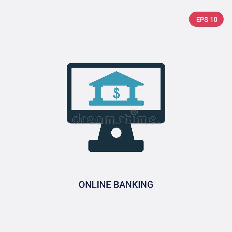 Значок вектора 2 онлайн-банкингов цвета от концепции оплаты изолированный голубой символ знака вектора онлайн-банкингов может быт бесплатная иллюстрация