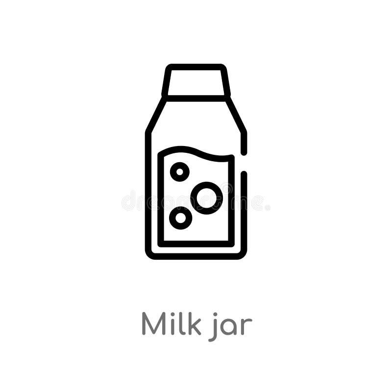 значок вектора опарника молока плана изолированная черная простая линия иллюстрация элемента от обрабатывать землю концепция edit иллюстрация вектора