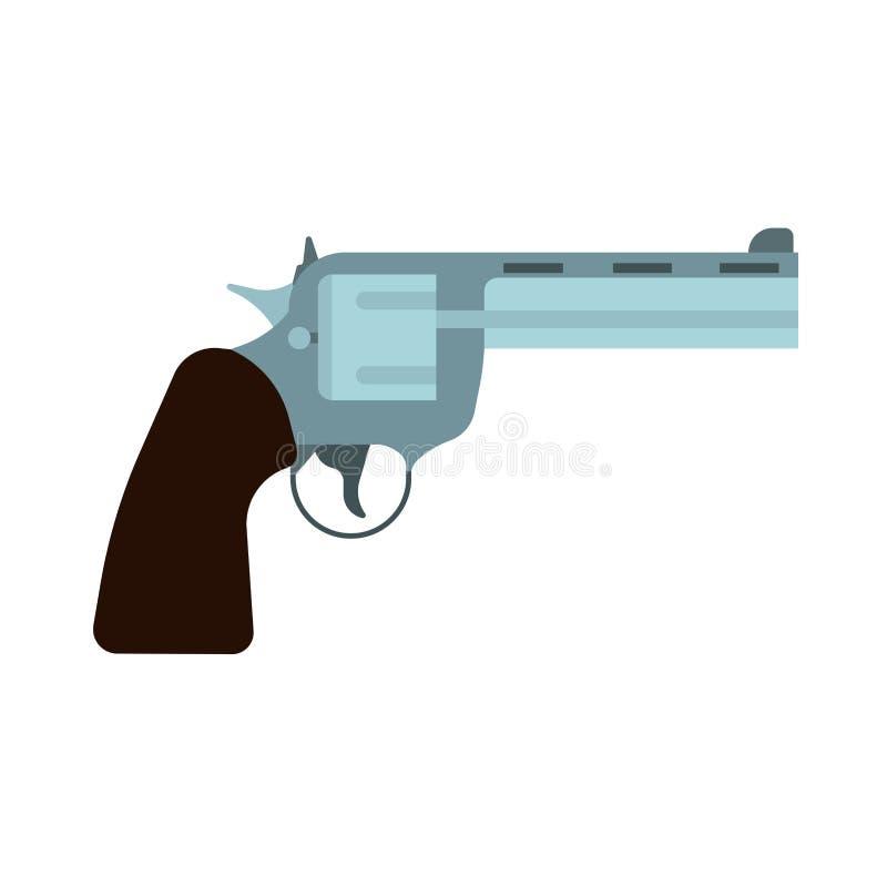 Значок вектора оружия взгляда со стороны револьвера Личное огнестрельное оружие пистолета пули западное Ретро полиция боеприпасов бесплатная иллюстрация
