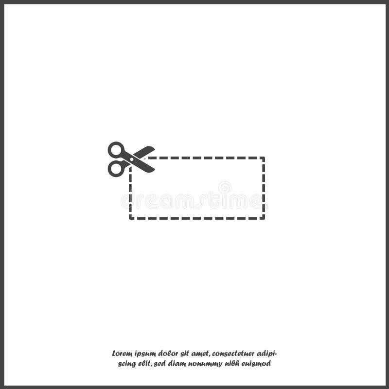 Значок вектора отрезал вне талон вдоль контура Пунктирная линия и ножницы значка на белой изолированной предпосылке иллюстрация вектора