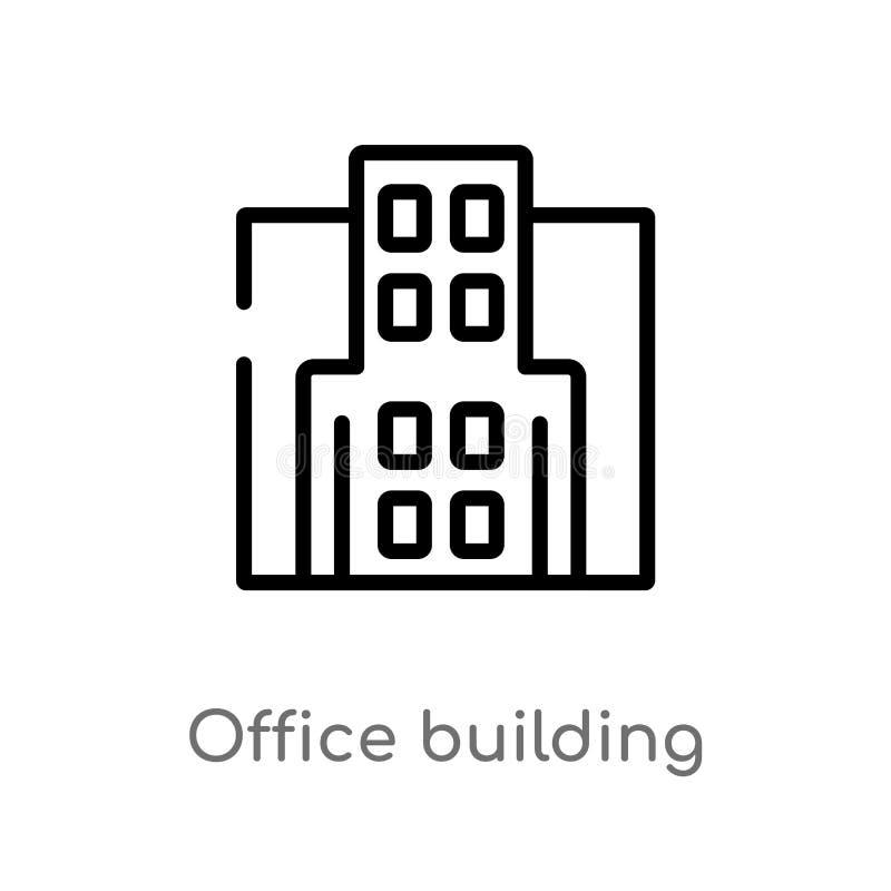 значок вектора офисного здания плана изолированная черная простая линия иллюстрация элемента от концепции недвижимости r бесплатная иллюстрация