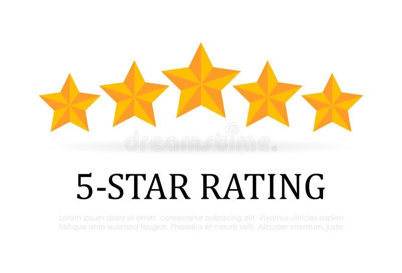 Значок вектора оценки 5 звезд иллюстрация штока