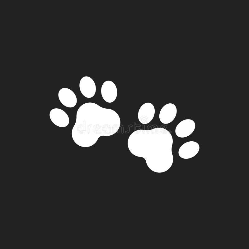 Значок вектора печати лапки Иллюстрация pawprint собаки или кота Животный силуэт иллюстрация вектора