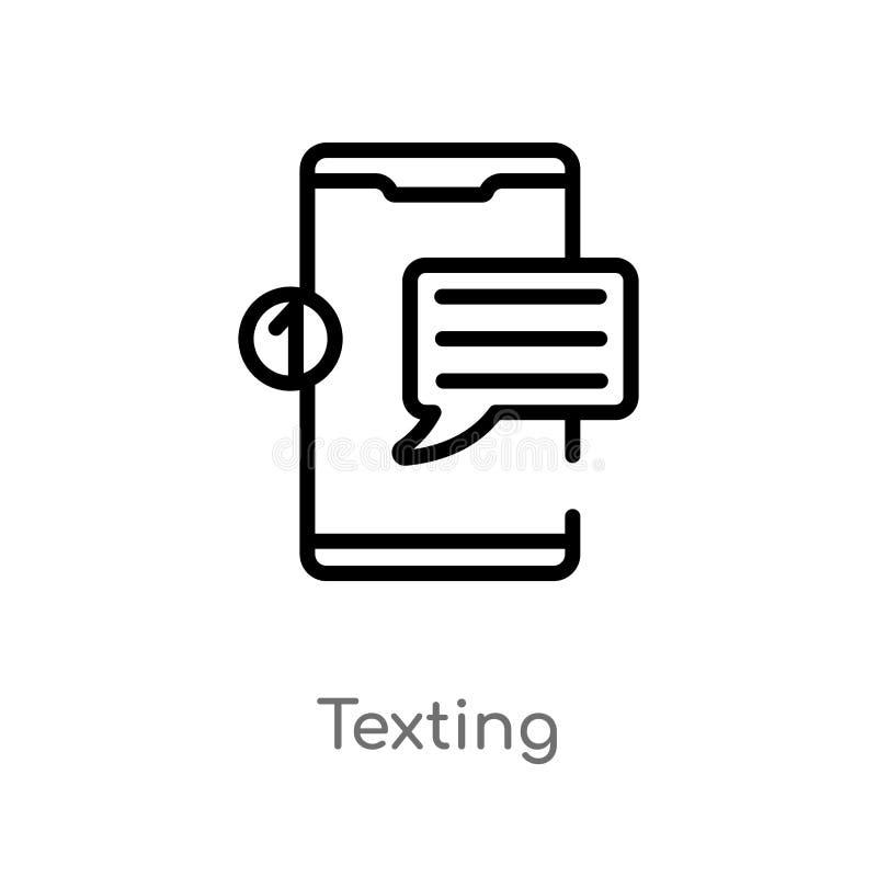 значок вектора плана отправляя SMS изолированная черная простая линия иллюстрация элемента от мобильной концепции приложения edit иллюстрация штока