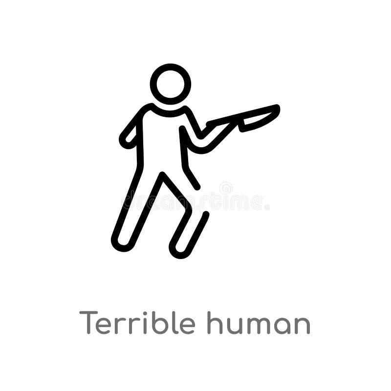 значок вектора плана ужасный человеческий изолированная черная простая линия иллюстрация элемента от концепции чувств Editable хо иллюстрация штока