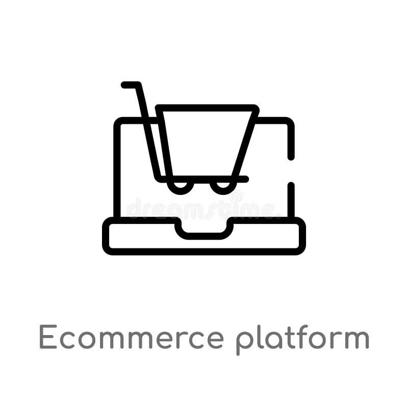 значок вектора платформы ecommerce плана изолированная черная простая линия иллюстрация элемента от концепции general-1 Editable  бесплатная иллюстрация