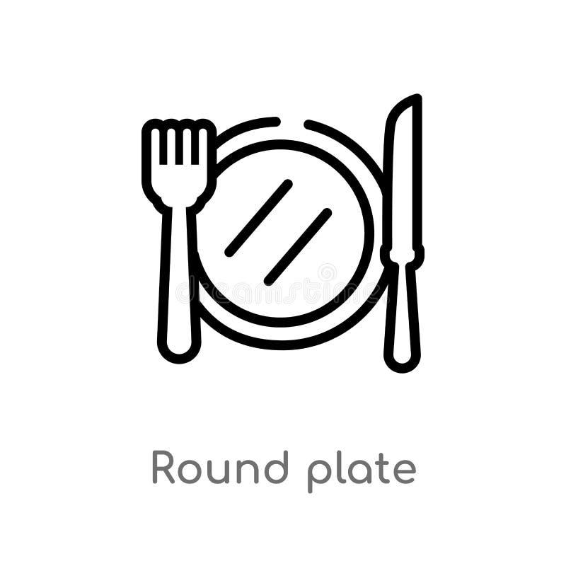 значок вектора плиты плана круглый изолированная черная простая линия иллюстрация элемента от концепции бистро и ресторана editab иллюстрация штока
