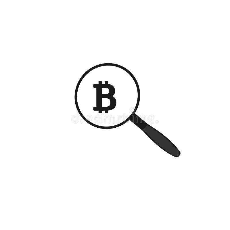 Значок вектора поиска Bitcoin с лупой иллюстрация штока