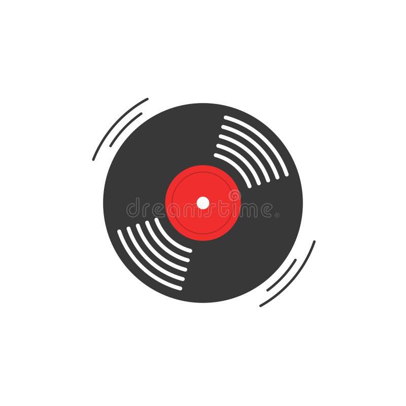 Значок вектора показателя винила, символ показателя винила патефона, вращая рекордный диск винила, плоский винил lp, винил мультф иллюстрация вектора