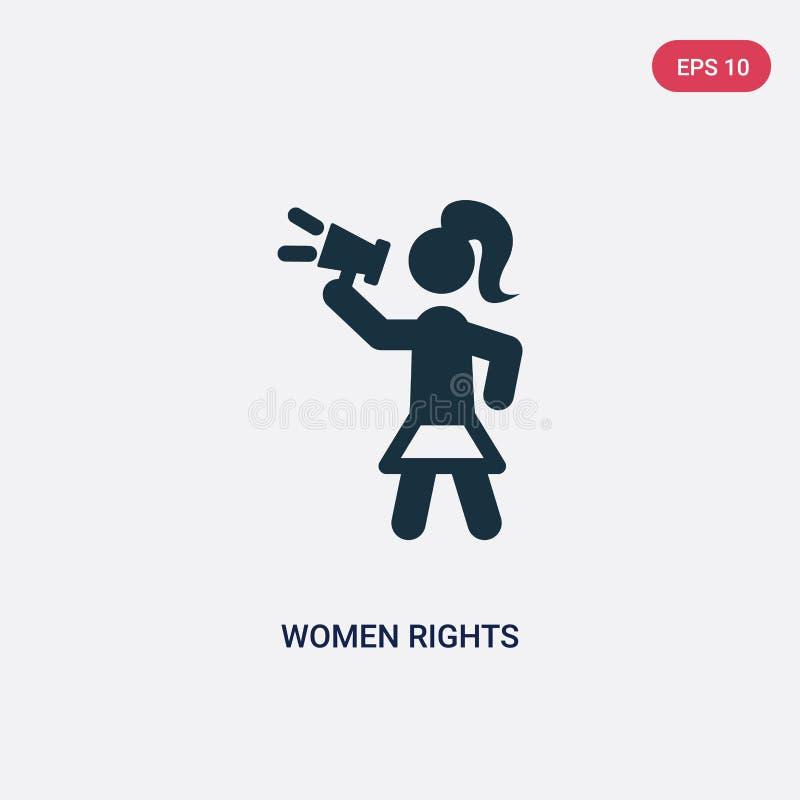 Значок вектора 2 прав женщин цвета от политической концепции изолированный голубой символ знака вектора прав женщин может быть по бесплатная иллюстрация