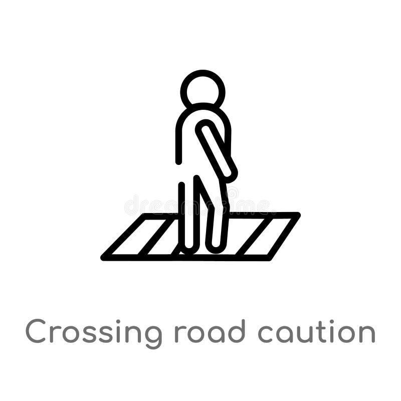 значок вектора предосторежения дороги скрещивания плана изолированная черная простая линия иллюстрация элемента от карт и концепц бесплатная иллюстрация