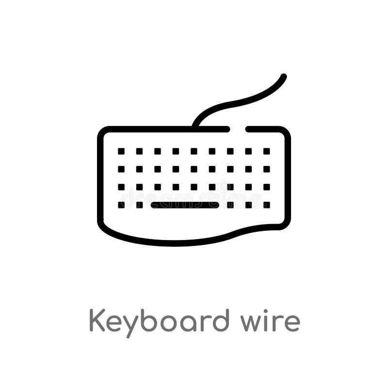 значок вектора провода клавиатуры плана изолированная черная простая линия иллюстрация элемента от концепции оборудования editabl иллюстрация штока