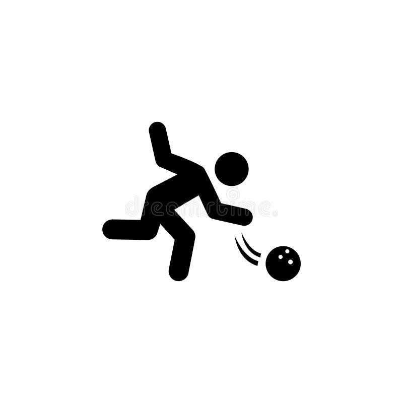 Значок вектора профессионального шарика хода игрока боулинга плоский бесплатная иллюстрация