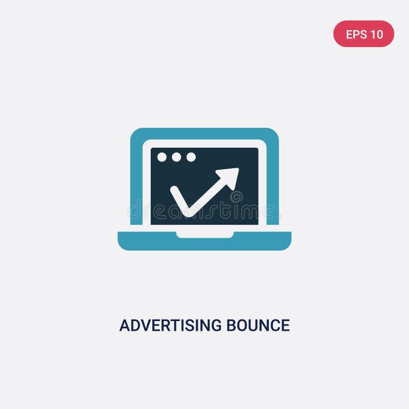 Значок вектора прыжка рекламы 2 цветов от программируя концепции изолированный голубой рекламируя символ знака вектора прыжка мож бесплатная иллюстрация