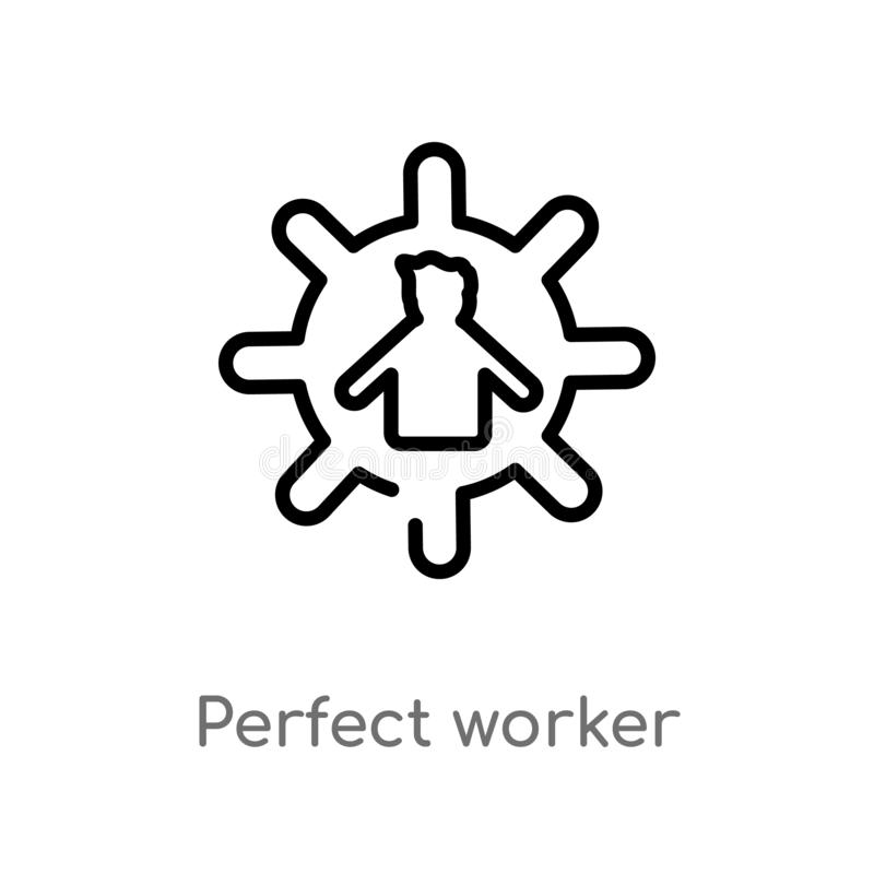 значок вектора работника плана идеальный изолированная черная простая линия иллюстрация элемента от концепции людей Editable ход  бесплатная иллюстрация