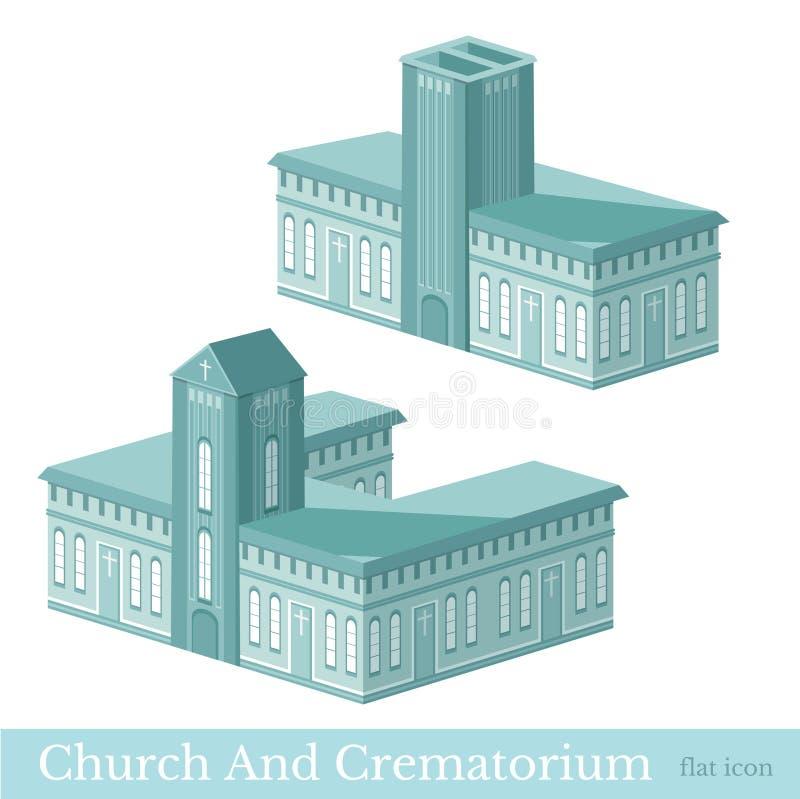 Значок вектора равновеликий установленный или infographic элементы представляя здания крематория и церков иллюстрация вектора