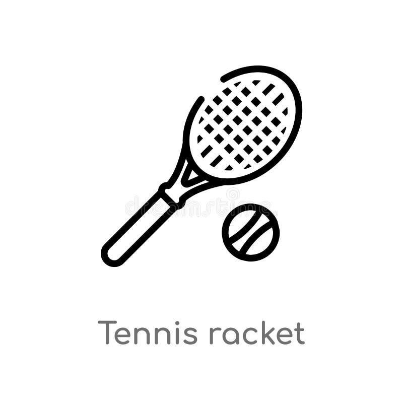 значок вектора ракетки тенниса плана изолированная черная простая линия иллюстрация элемента от концепции свободного времени Edit иллюстрация вектора