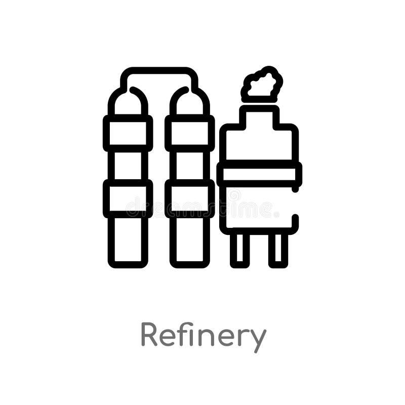значок вектора рафинадного завода плана изолированная черная простая линия иллюстрация элемента от концепции индустрии Editable х иллюстрация штока