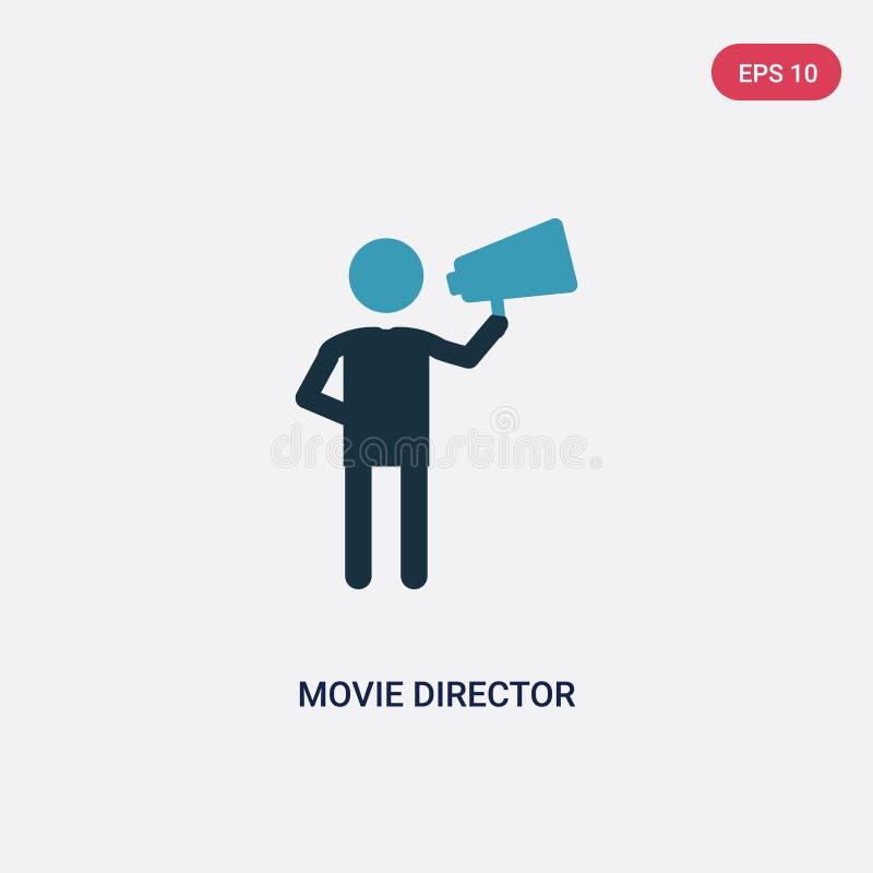 Значок вектора режиссера 2 цветов от концепции людей изолированный голубой символ знака вектора режиссера может быть пользой для  иллюстрация вектора