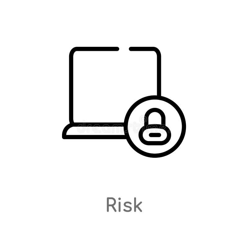 значок вектора риска плана изолированная черная простая линия иллюстрация элемента от концепции кибер editable значок риска хода  иллюстрация вектора