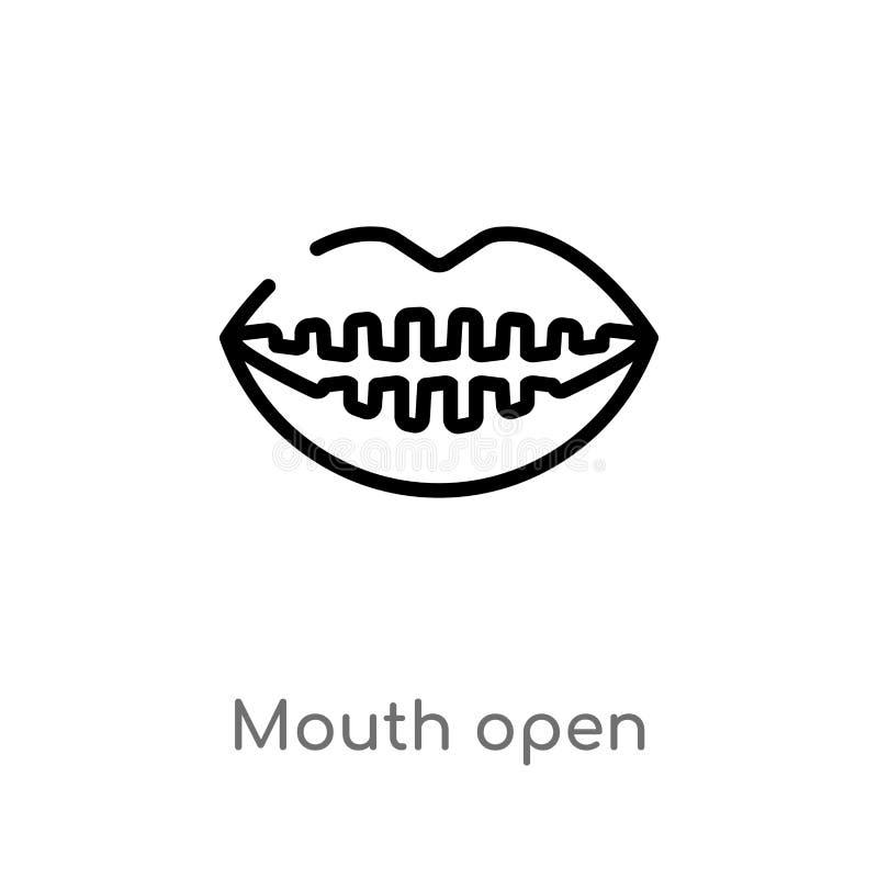 значок вектора рта плана открытый изолированная черная простая линия иллюстрация элемента от человеческой концепции частей тела e иллюстрация штока