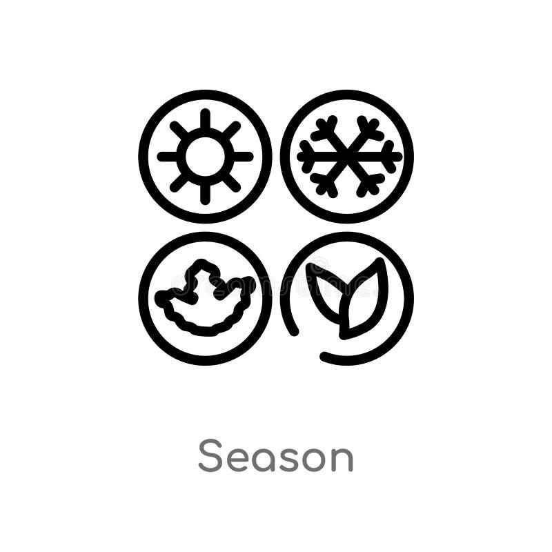 значок вектора сезона плана изолированная черная простая линия иллюстрация элемента от концепции природы editable сезон хода вект бесплатная иллюстрация